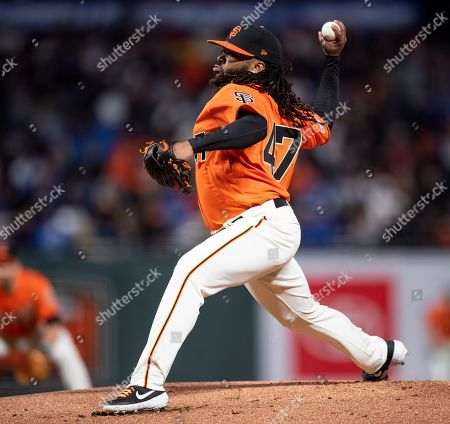 Stock Image of In his second start after Tommy John surgery, San Francisco Giants starting pitcher Johnny Cueto (47) throws in the first inning, during a MLB game between the Los Angeles Dodgers and the San Francisco Giants at Oracle Park in San Francisco, California