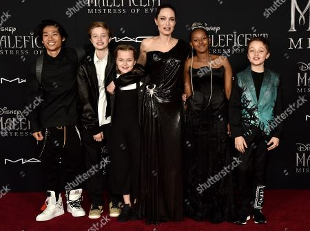 Stock Image of Pax Jolie-Pitt, Shiloh Jolie-Pitt, Vivian Jolie-Pitt, Angelina Jolie, Zahara Jolie-Pitt and Knox Jolie-Pitt