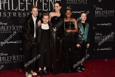 Stock Photo of Shiloh Jolie-Pitt, Vivian Jolie-Pitt, Angelina Jolie, Zahara Jolie-Pitt and Knox Jolie-Pitt