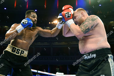 Jonathan Palata (blue gloves) defeats Chris Healy during a Boxing Show at the Royal Albert Hall on 27th September 2019
