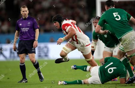 Japan's James Moore makes a run during the Rugby World Cup Pool A game at Shizuoka Stadium Ecopa between Japan and Ireland in Shizuoka, Japan
