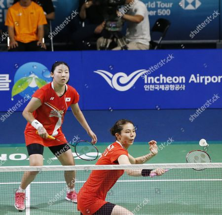 Kong Hee-yong (R) and Kim So-yeong (L) of South Korea in action during their Women's Doubles semi-final match against Ayako Sakuramoto and Yukiko Takahata of Japan at the Korea Open 2019 badminton championships in Incheon, South Korea, 28 September 2019.
