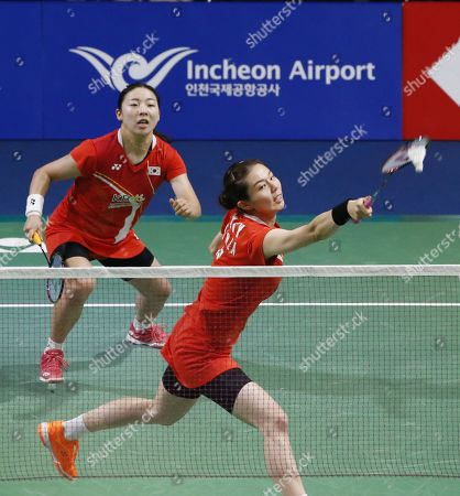 Stock Image of Kong Hee-yong (R) and Kim So-yeong (L) of South Korea in action during their Women's Doubles semi-final match against Ayako Sakuramoto and Yukiko Takahata of Japan at the Korea Open 2019 badminton championships in Incheon, South Korea, 28 September 2019.