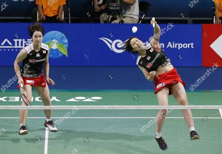 Yukiko Takahata (L) and Ayako Sakuramoto (R) of Japanin action during their Women's Doubles semi-final match against  Kong Hee-yong and Kim So-yeong of South Korea at the Korea Open 2019 badminton championships in Incheon, South Korea, 28 September 2019.