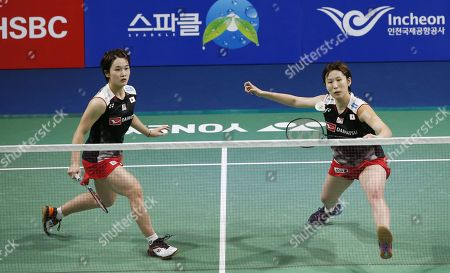 Stock Picture of Yukiko Takahata (L) and Ayako Sakuramoto (R) of Japanin action during their Women's Doubles semi-final match against  Kong Hee-yong and Kim So-yeong of South Korea at the Korea Open 2019 badminton championships in Incheon, South Korea, 28 September 2019.