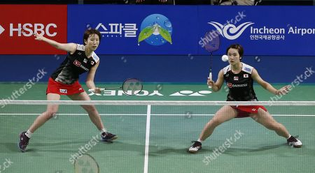 Yukiko Takahata (R) and Ayako Sakuramoto (L) of Japanin action during their Women's Doubles semi-final match against  Kong Hee-yong and Kim So-yeong of South Korea at the Korea Open 2019 badminton championships in Incheon, South Korea, 28 September 2019.