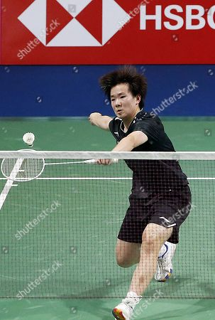 Stock Picture of He Bing Jiao of China in action during the Women's Singles semi-final match against Michelle Li of Canada at the Korea Open 2019 badminton championships in Incheon, South Korea, 28 September 2019.