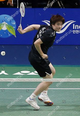 Stock Image of He Bing Jiao of China in action during the Women's Singles semi-final match against Michelle Li of Canada at the Korea Open 2019 badminton championships in Incheon, South Korea, 28 September 2019.