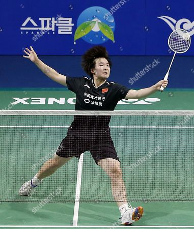 He Bing Jiao of China in action during the Women's Singles semi-final match against Michelle Li of Canada at the Korea Open 2019 badminton championships in Incheon, South Korea, 28 September 2019.