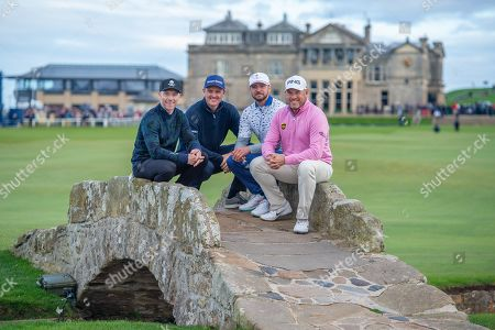 (LtoR) Ronan Keating, Justin Rose, Justin Timberlake and Lee Westwood on the Swilken Bridge on the 18th hole during the third round of the Alfred Dunhill Links Championship European Tour at St Andrews, West Sands