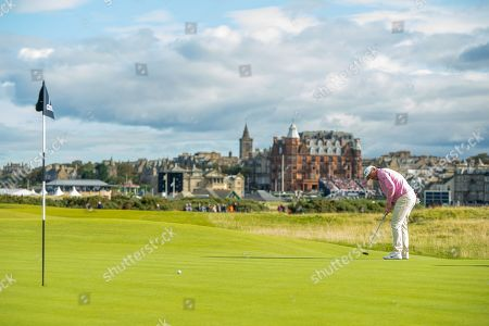 Stock Photo of Lee Westwood putts on the 16th green during the third round of the Alfred Dunhill Links Championship European Tour at St Andrews, West Sands