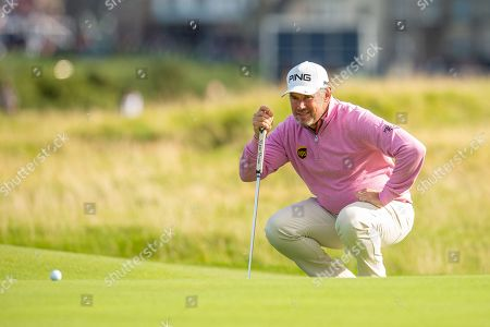 Lee Westwood on the 16th green during the third round of the Alfred Dunhill Links Championship European Tour at St Andrews, West Sands