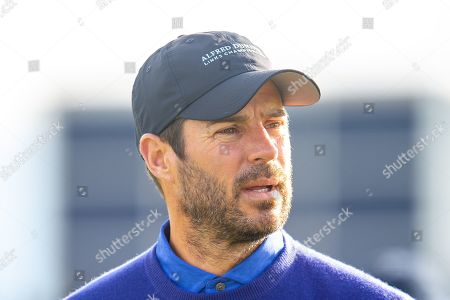 Former Liverpool footballer and Sky Sports pundit, Jamie Redknapp on the second tee during the third round of the Alfred Dunhill Links Championship European Tour at St Andrews, West Sands