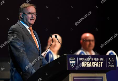 Leader of the federal Opposition, Anthony Albanese speaks at the AFL North Melbourne Grand Final Breakfast at the Melbourne Convention and Exhibition Centre in Melbourne, Victoria, Australia, 28 September 2019. The Richmond Tigers play the GWS Giants in the 2019 AFL Grand Final.