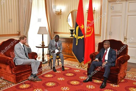 Prince Harry (L) during an audience with Angolan President Joao Lourenco (R) at the presidential palace in Luanda, Angola, 28 September 2019 (issued 28 September 2019). The Duke and Duchess of Sussex are on a 10-day tour of southern Africa.