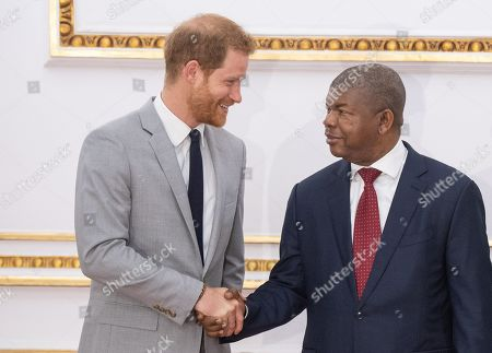 Prince Harry arrives for an audience with Joao Lourenco (R) at the presidential palace in Luanda Angola 28 September 2019. The Duke and Duchess of Sussex are on a 10-day tour of southern Africa.