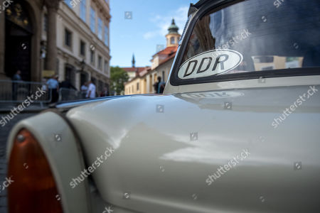 A license plate of East Germany (DDR) is placed on East Germany-made Trabant car as it stands in front of German embassy during 30th anniversary of East Germans exodus in Prague, Czech Republic, 28 September 2019. In September 1989, over 4,000 GDR citizens, many of them arrived in their Trabant-brand cars, climbed over the fence into the gardens of the West German Embassy in Prague where on 30 September 1989 West German Foreign Minister Hans-Dietrich Genscher addressed them his legendary speech from the embassy's balcony in which he informed them their departure to West Germany was granted.