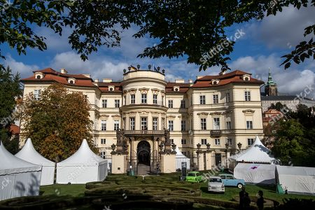 A general view of the German embassy during the 30th anniversary of East Germans' exodus in Prague, Czech Republic, 28 September 2019. In September 1989, over 4,000 GDR citizens, many of them arrived in their Trabant-brand cars, climbed over the fence into the gardens of the West German Embassy in Prague where on 30 September 1989 West German Foreign Minister Hans-Dietrich Genscher addressed them his legendary speech from the embassy's balcony in which he informed them their departure to West Germany was granted.