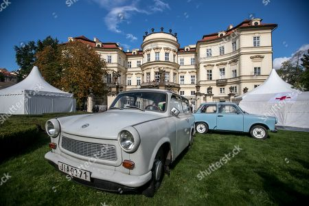 East Germany-made Trabant cars stand during the 30th anniversary of East Germans' exodus at German embassy in Prague, Czech Republic, 28 September 2019. In September 1989, over 4,000 GDR citizens, many of them arrived in their Trabant-brand cars, climbed over the fence into the gardens of the West German Embassy in Prague where on 30 September 1989 West German Foreign Minister Hans-Dietrich Genscher addressed them his legendary speech from the embassy's balcony in which he informed them their departure to West Germany was granted.
