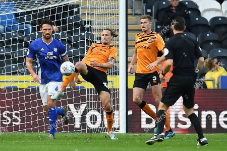 Hull City player Jackson Irvine (36) clears ball from goal area during the EFL Sky Bet Championship match between Hull City and Cardiff City at the KCOM Stadium, Kingston upon Hull