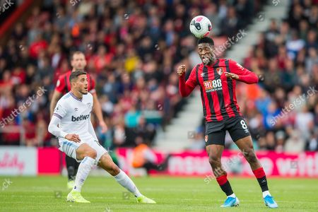 Stock Photo of Jefferson Lerma (Bournemouth) heads the ball during the Premier League match between Bournemouth and West Ham United at the Vitality Stadium, Bournemouth