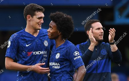 (L-R) Chelsea's Andreas Christensen, Willian and manager Frank Lampard following Chelsea's 2-0 win over Brighton in an English Premier League soccer match at Stamford Bridge in London, Britain, 28 September 2019.