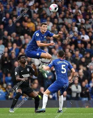 Chelsea's Andreas Christensen heads the ball clear during an English Premier League soccer match against Brighton at Stamford Bridge in London, Britain, 28 September 2019.