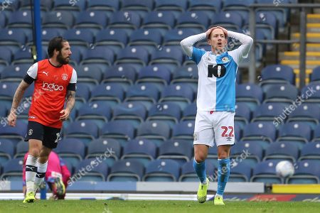 Blackburn Rovers Lewis Holtby holds his head after a missed chance during the EFL Sky Bet Championship match between Blackburn Rovers and Luton Town at Ewood Park, Blackburn