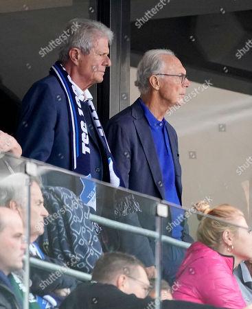 Hoffenheim's patron Dietmar Hopp (L) and former German soccer player and coach Franz Beckenbauer (R) on the stand during the German Bundesliga soccer match between TSG 1899 Hoffenheim and Borussia Moenchengladbach in Sinsheim, Germany, 28 September 2019.