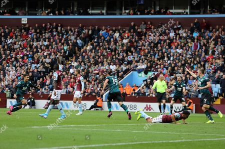 Jay Rodriguez of Burnley scores the equalising goal during Aston Villa vs Burnley, Premier League Football at Villa Park on 28th September 2019