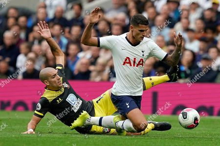 Stock Image of Tottenham's Eric Lamela (R) vies for the ball against Southampton's Oriol Romeu (L) during the English Premier League soccer match between Tottenham Hotspur and Southampton at Tottenham Hotspur Stadium, London, Britain, 28 September 2019.