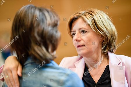 Rhineland-Palatinate State Premier and the co-interim chairwoman of the Social Democratic Party (SPD) Malu Dreyer (R) and former German Minister of Justice of the Social Democratic Party (SPD) Katarina Barley (L) hug during the beginning of a closed board meeting of the Social Democratic Party (SPD) in Berlin, Germany, 28 September 2019. During the closed meeting, guideline motions for the upcoming party convention from 06 to 08 December 2019 will be resolved.