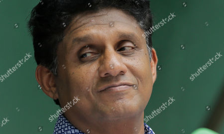 Deputy leader of Sri Lanka's governing United National Party and their presidential candidate Sajith Premadasa attends a media briefing in Colombo, Sri Lanka, . Sri Lanka's governing party on Thursday named Premadasa as its candidate in November's presidential election, ending a long tussle with the party leader, Prime Minister Ranil Wickremesinghe, over the nomination