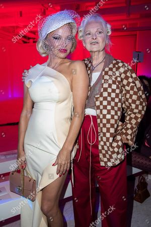 Pamela Anderson, Vivienne Westwood. Actress Pamela Anderson, left, and designer Vivienne Westwood pose for photographers prior to the Vivienne Westwood Ready To Wear Spring-Summer 2020 collection, unveiled during the fashion week, in Paris