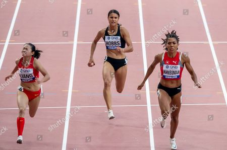 Stock Photo of New Zealand's Zoe Hobbs running in the heats of the Women's 100m