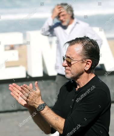 Francois Girard (back) and British actor/cast member Tim Roth (front) pose for the media during the presentation of the movie 'The Song of Names' at the 67th San Sebastian International Film Festival (SSIFF), in San Sebastian, Spain, 28 September 2019. The festival runs from 20 to 28 September.