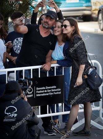 Catherine McCormack (R) poses for a selfie with fans as she arrives for the 67th San Sebastian International Film Festival (SSIFF), in San Sebastian, Spain, 28 September 2019. McCormack is in San Sebastian to present the movie 'The Song of Names' at the festival that runs from 20 to 28 September.