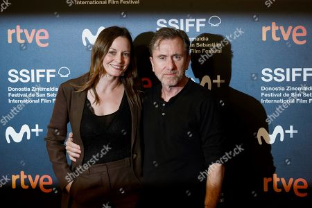 Tim Roth (R) and Catherine MacCormack (L) pose for the media during the closing ceremony of the 67th edition of the San Sebastian International Film Festival (SSIFF) in San Sebastian, Spain, 28 September 2019. The festival runs from 20 to 28 September.