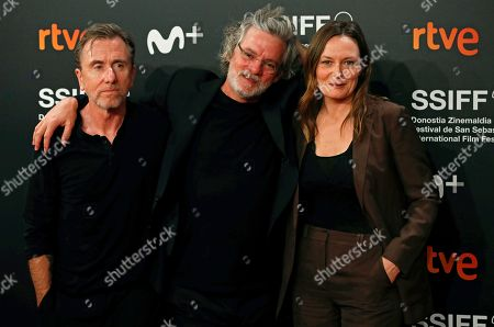 Francois Girard (C) and British actors Tim Roth (L) and Catherine MacCormack (R) pose for the media during the closing ceremony of the 67th edition of the San Sebastian International Film Festival (SSIFF) in San Sebastian, Spain, 28 September 2019. The festival runs from 20 to 28 September.
