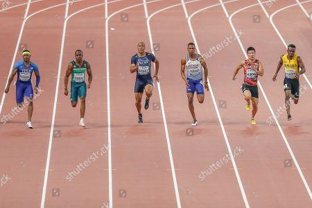 Michael Rogers (USA), Akani Simbine (South Africa), Jimmy Vicaut (France), Zharnel Hughes (Great Britain), Yoshihide Kiryu (Japan), Tyquendo Tracey (Jamaica), 100 Metres Men, Semi-Final Heat 3, during the 2019 IAAF World Athletics Championships at Khalifa International Stadium, Doha