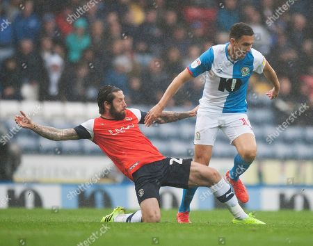 Stock Image of Jacob Butterfield of Luton Town (L) and Stewart Downing of Blackburn Rovers in action