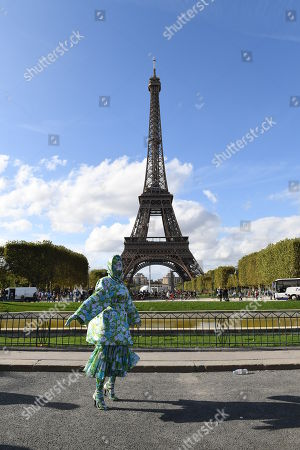 Cardi B wearing Richard Quinn at the Eiffel Tower