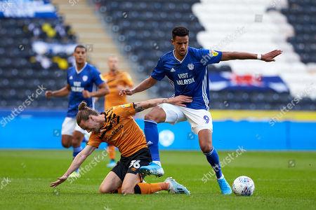 Cardiff's Robert Glatzel battles with Hull's Jackson Irvine.
