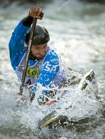 Spanish Luis Fernandez in action during the C1 race of the 2019 ICF Canoe Slalom World Championships in La Seu d'Urgell, Spain, 28 September 2019.