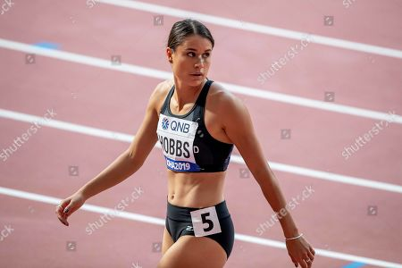 Stock Picture of New Zealand's Zoe Hobbs after running in the heats of the Women's 100m