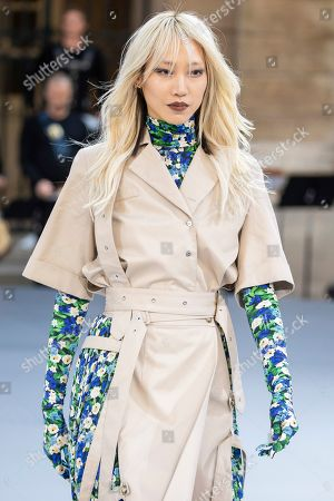 Soo Joo Park wears a creation as part of the L'Oreal Ready To Wear Spring-Summer 2020 collection, unveiled during the fashion week, in Paris