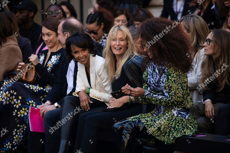 Sonia Rolland, Estelle Lefebure, Tina Kunakey. Sonia Rolland, Estelle Lefebure and Tina Kunakey attend the L'Oreal Ready To Wear Spring-Summer 2020 collection, unveiled during the fashion week, in Paris