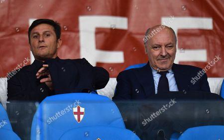 Inter's CEO Giuseppe Marotta (R) with Vice President Javier Zanetti attend the Italian Serie A soccer match UC Sampdoria vs FC Inter at the Luigi Ferraris stadium in Genoa, Italy, 28 September 2019.