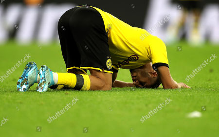 Dortmund's Achraf Hakimi reacts after the German Bundesliga soccer match between Borussia Dortmund and SV Werder Bremen in Dortmund, Germany, 28 September 2019.