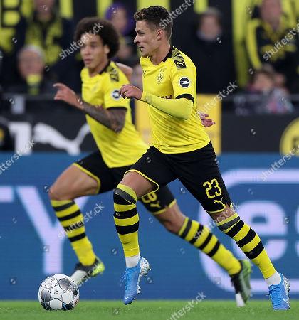 Dortmund's Thorgan Hazard (R) in action during the German Bundesliga soccer match between Borussia Dortmund and SV Werder Bremen in Dortmund, Germany, 28 September 2019.